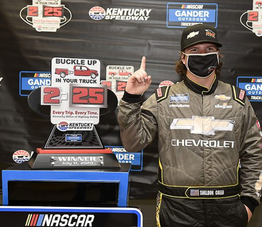 Sheldon Creed earned his first NASCAR Gander RV & Outdoors Truck Series victory on Saturday at Kentucky Speedway. (Jared C. Tilton/Getty Images Photo)