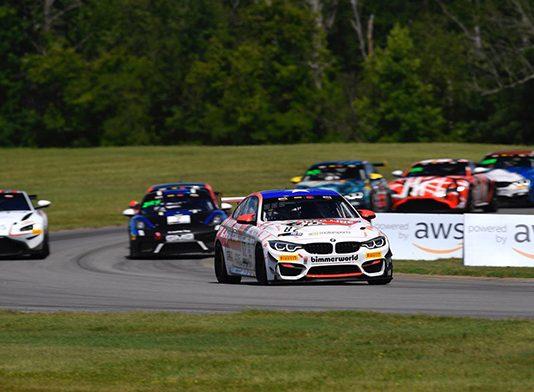 Bill Auberlen and James Walker Jr. topped Saturday's Pirelli GT4 America event at Virginia Int'l Raceway.