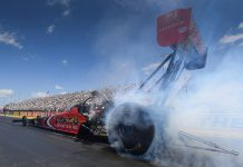 Steve Torrence claimed the No. 1 spot in Top Fuel qualifying Saturday at Lucas Oil Raceway. (NHRA Photo)