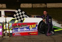Josh Smith celebrates his victory in Saturday's Denny Shatto Memorial at Shady Bowl Speedway. (Todd Ridgeway Photo)