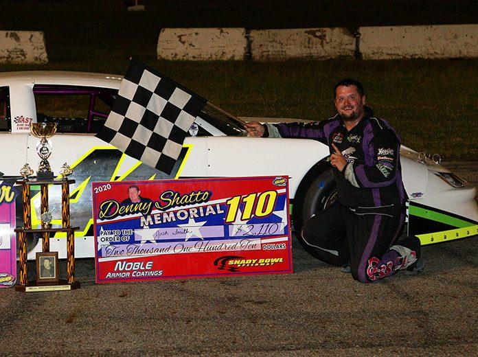 Josh Smith celebrates his victory in Saturday's Denny Shatto Memorial at Shady Bowl Speedway. (Todd Ridgeway Photo)