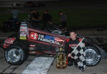 Tyler Roahrig in victory lane after winning the Glen Niebel Classic at Anderson Speedway on Saturday. (David Sink Photo)