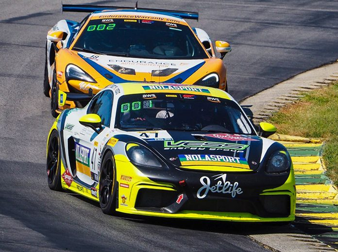 Jason Hart and Matt Travis drove the No. 47 entry to victory in Sunday's Pirelli GT4 America SprintX event.