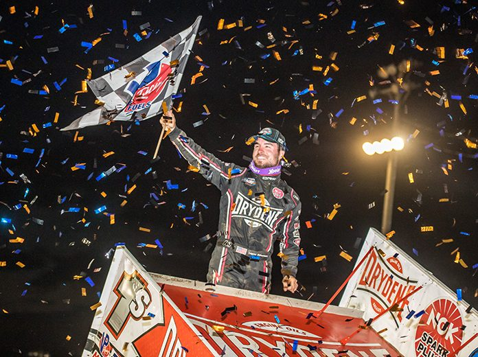 Logan Schuchart celebrates after winning Sunday's Wabash Clash at the Terre Haute Action Track. (Brad Plant Photo)