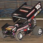 Sam Hafertepe Jr. won Sunday's ASCS Sooner Region feature at Creek County Speedway. (Richard Bales Photo)
