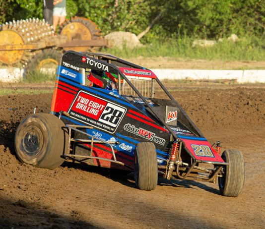 Ace McCarthy inherited Sunday's POWRi Lucas Oil National Midget League victory at Valley Speedway. (Russell Moore Photo)