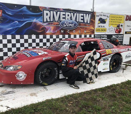 Ashton Tucker in victory lane Sunday at Speedway 660.