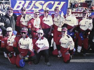 Ed Berrier in victory lane following the 1998 Galaxy Food Centers 300 at Hickory Motor Speedway. (Mike Horne/BRH Racing Archives Photo)