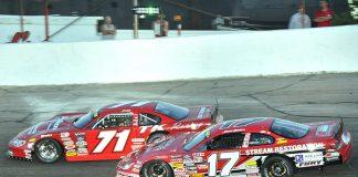 Carson Hocevar (71) leads Josh Brock during Monday's Redbud 400 at Anderson Speedway. (Randy Crist Photo)