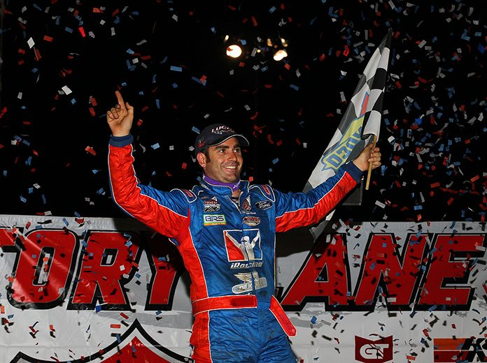Josh Richards celebrates after his victory Monday at 300 Raceway. (Mike Ruefer Photo)