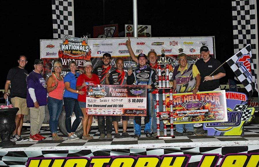 Bobby Pierce poses in victory lane after winning Friday's DIRTcar Summer Nationals event at Tri-City Speedway. (Jim Denhamer Photo)