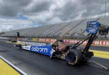 Osborn will appear on the Top Fuel dragster of Doug Kalitta this weekend at Lucas Oil Raceway.