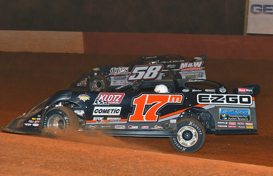 Dale McDowell (17m) battles Ross Bailes during Friday's Schaeffer's Oil Southern Nationals Series event at Smoky Mountain Speedway. (Michael Moats Photo)