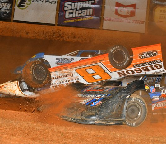 David Payne gets flipped on his roof during Friday's Schaeffer's Oil Southern Nationals Series event at Smoky Mountain Speedway. (Michael Moats Photo)