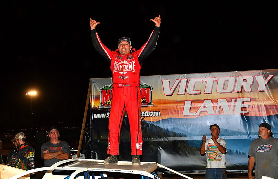 Chris Madden celebrates after winning Friday's Schaeffer's Oil Southern Nationals Series event at Smoky Mountain Speedway. (Michael Moats Photo)