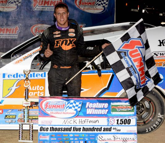Nick Hoffman in victory lane at Plymouth Speedway. (Stan Kalwasinski photo)