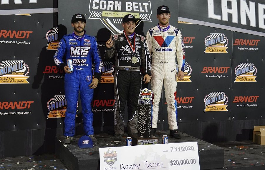 From left: Justin Grant, winner Brady Bacon and C.J. Leary pose on the podium following Saturday's Brandt Corn Belt Nationals finale at Knoxville Raceway. (Ray Hague photo)