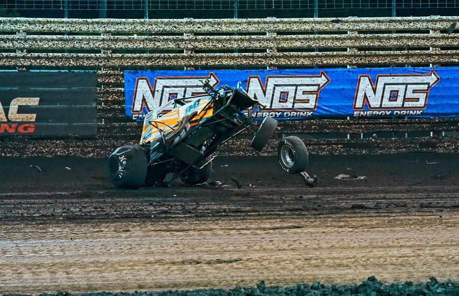 Mitch Wissmiller flips in turn two during preliminary action for Saturday's Brandt Corn Belt Nationals finale at Knoxville Raceway. (Ray Hague photo)