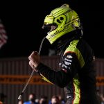 Simon Pagenaud celebrates after winning Friday's first race of the Iowa IndyCar 250s at Iowa Speedway. (IndyCar Photo)