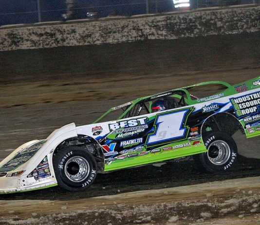 Tyler Erb, shown earlier this week, won Friday's Lucas Oil Late Model Dirt Series race at Tri-City Speedway. (Jim DenHamer photo)