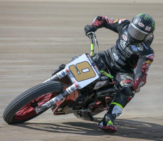 Jared Mees won Friday's American Flat Track SuperTwins opener at Volusia Speedway Park. (AFT Photo)