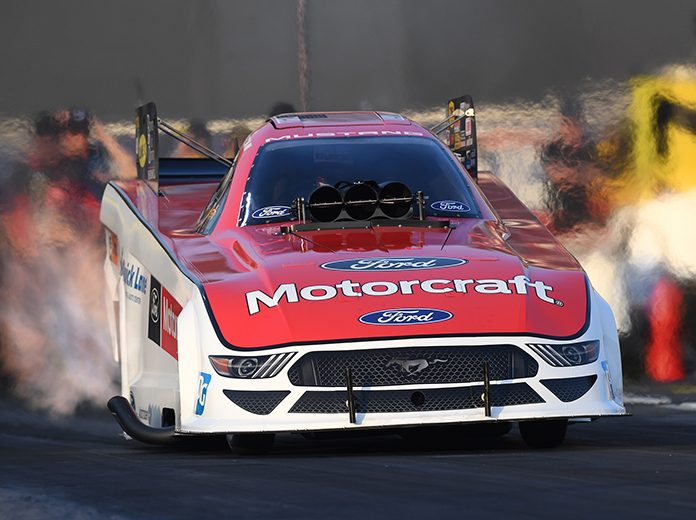 Bob Tasca III, shown here earlier this year, was the top qualifier in the Funny Car class for the Lucas Oil NHRA Summernationals at Lucas Oil Raceway. (NHRA Photo)