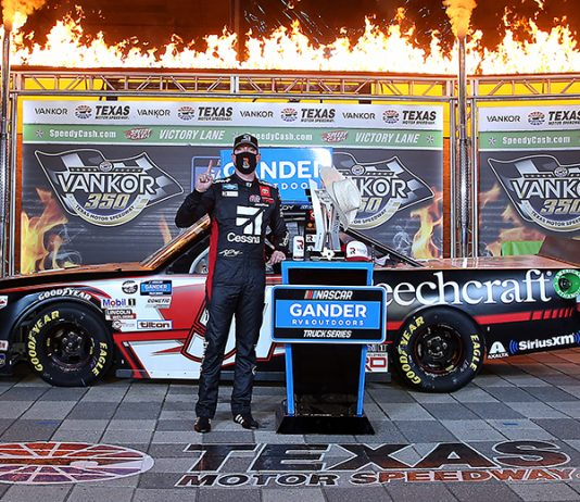 Kyle Busch in victory lane following his NASCAR Gander RV & Outdoors Truck Series victory Saturday at Texas Motor Speedway. (Chris Graythen/Getty Images Photo)