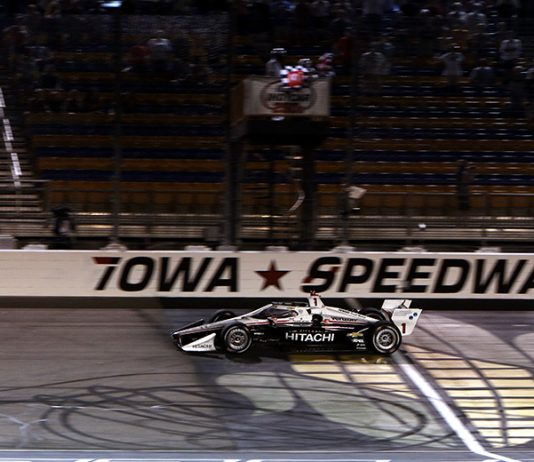 Josef Newgarden crosses the finish line to win Saturday's NTT IndyCar Series event at Iowa Speedway. (IndyCar Photo)