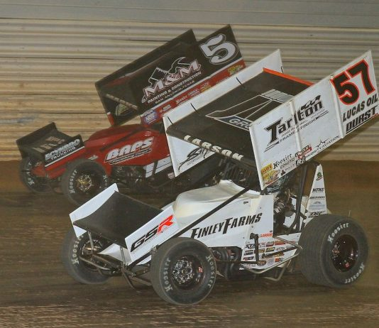 Kyle Larson takes the lead from Brent Marks (5) Saturday at Port Royal Speedway. (Dan Demarco photo)