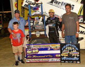 Kyle Larson in victory lane at Port Royal Speedway. (Paul Arch photo)
