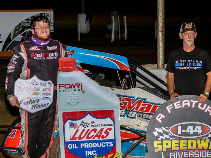 Andrew Felker in victory lane following his victory Saturday at I-44 Riverside Speedway. (Gary Pigg Photo)