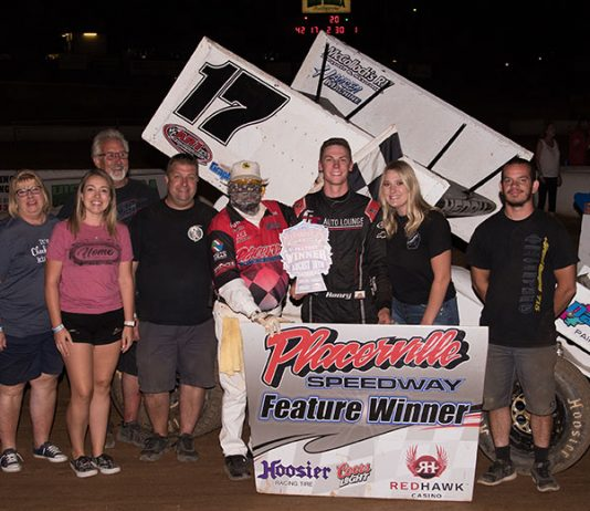 Kalib Henry in victory lane Saturday at Placerville Speedway. (Devin Mayo Photo)