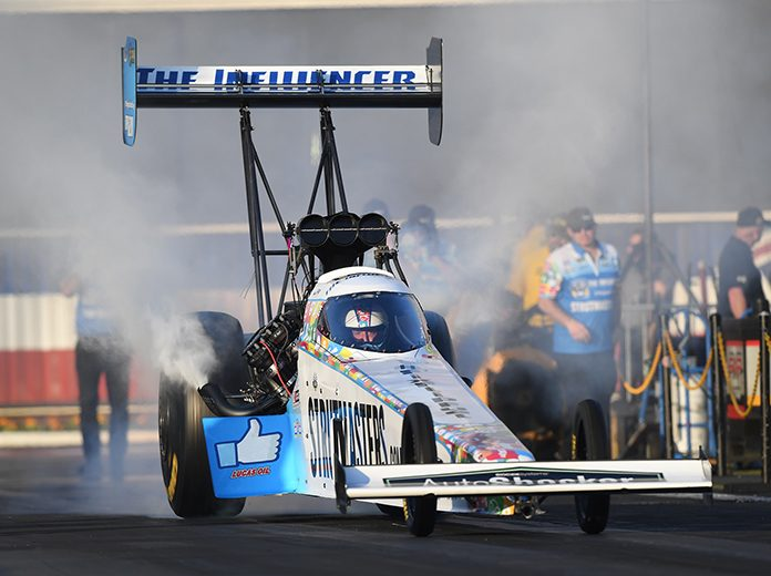 Justin Ashley, shown here earlier in the year, will race T.J. Zizzo for the Top Fuel Wally when the Lucas Oil NHRA Summernationals finals take place during the U.S. Nationals in September. (NHRA Photo)