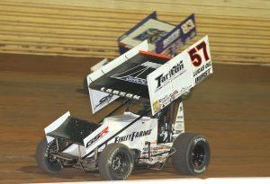 Kyle Larson (57) races under Daryn Pittman at Port Royal Speedway. (Dan Demarco photo)