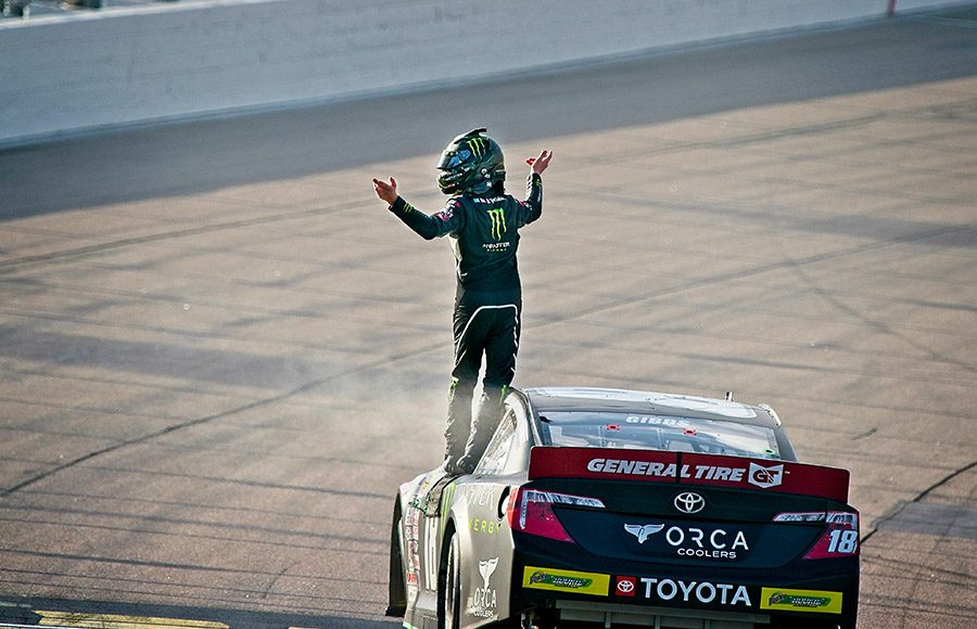 Ty Gibbs celebrates after winning Saturday's ARCA Menards Series event at Iowa Speedway. (Ray Hague Photo)