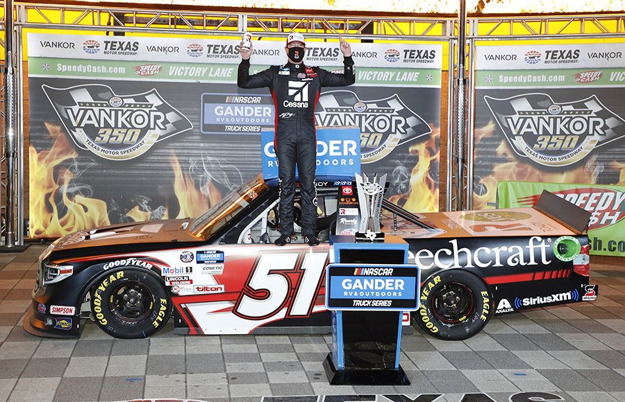 Kyle Busch poses in victory lane after winning Saturday's NASCAR Gander RV & Outdoors Truck Series race at Texas Motor Speedway. (HHP/Harold Hinson Photo)