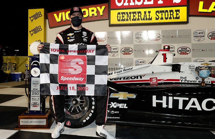 Josef Newgarden poses in victory lane after winning Saturday's NTT IndyCar Series event at Iowa Speedway. (IndyCar Photo)