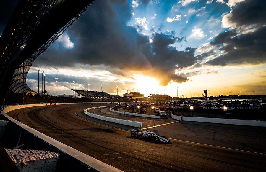The sun sets over Iowa Speedway during Saturday's NTT IndyCar Series event at Iowa Speedway. (IndyCar Photo)