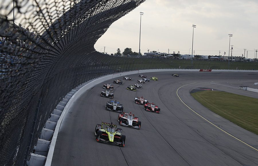 Santino Ferrucci leads a pack of cars during Saturday's NTT IndyCar Series event at Iowa Speedway. (IndyCar Photo)