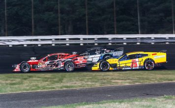 Tommy Catalano (50), Ronnie Williams (50) and Cam McDermott battle for position during Saturday's Bud Light Open Modified 80 at Stafford Motor Speedway. (Dick Ayers Photo)