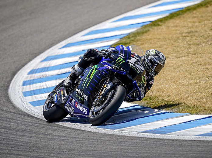 Maverick Vinales was fastest in MotoGP practice on Friday in Spain. (Yamaha Photo)