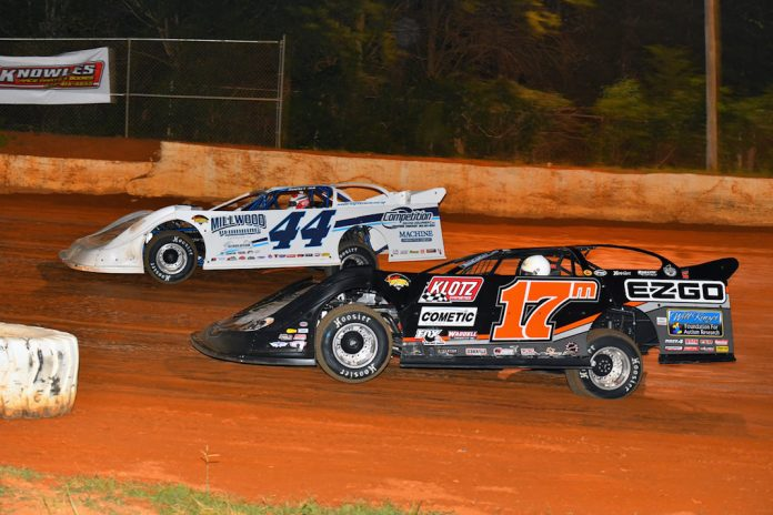 Chris Madden (44) leads Dale McDowell at 411 Motor Speedway. (Michael Moats photo)