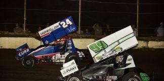 Rico Abreu (24) races ahead of Skyler Gee at Jacksonville Speedway. (Mark Funderburk photo)