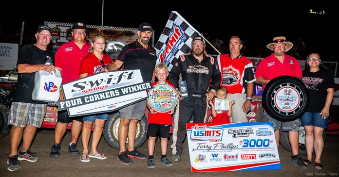 Terry Phillips in victory lane Friday night at I-80 Speedway. (Tyler Rinken Photo)