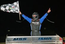 Dave Shullick Jr. celebrates after winning the Hy-Miler Fast 40 Friday at Sandusky Speedway. (Todd Ridgeway Photo)