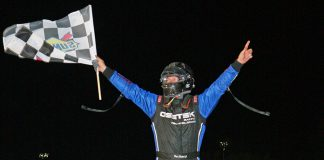 Dave Shullick Jr. celebrates after winning the Hy-Miler Fast 40 Friday at Sandusky Speedway. (Todd Ridgeway Photo)