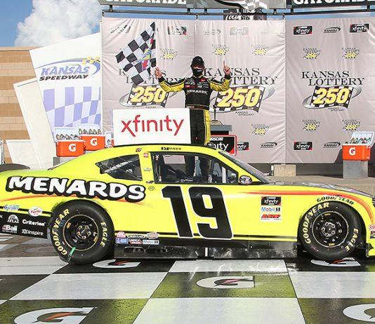 Brandon Jones in victory lane Saturday at Kansas Speedway. (Jamie Squire/Getty Images Photo)