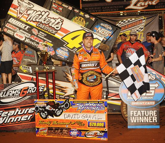 David Gravel poses in victory lane after winning Saturday's Summer Nationals feature at Williams Grove Speedway. (Julia Johnson Photo)