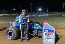 Riley Kreisel won Saturday's POWRi Lucas Oil WAR Sprint League feature at Monett Motor Speedway.