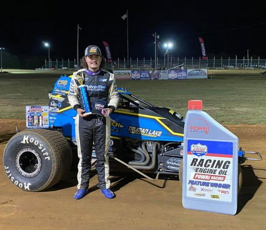 Riley Kreisel won Saturday's POWRi Lucas Oil WAR Sprint League feature at Monett Motor Speedway.